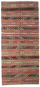 Kelim Halbantik Türkei Teppich  163X364 Echter Orientalischer Handgewebter Läufer Dunkelrot/Dunkelgrau (Wolle, Türkei)