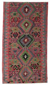 Kelim Semiantiikki Turkki Matto 177X323 Itämainen Käsinkudottu Musta/Tummanpunainen (Villa, Turkki)