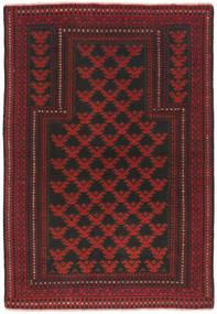 Beluch Covor 91X134 Orientale Lucrat Manual Roșu-Închis/Negru (Lână, Afganistan)