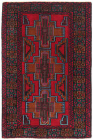 Baluch Rug 88X144 Authentic  Oriental Handknotted Dark Red/Crimson Red (Wool, Afghanistan)