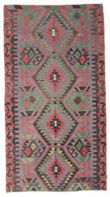 Kelim Semiantik Turkisk Matta 162X300 Äkta Orientalisk Handvävd Mörkgrå/Mörkbrun/Roströd (Ull, Turkiet)