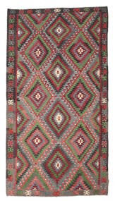 Kilim Semi Antique Turkish Rug 195X360 Authentic  Oriental Handwoven Dark Grey/Olive Green (Wool, Turkey)