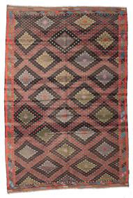 Kelim Semiantik Turkisk Matta 196X292 Äkta Orientalisk Handvävd Mörkgrå/Ljusbrun (Ull, Turkiet)