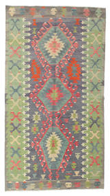 Kilim Semi Antique Turkish Rug 150X273 Authentic  Oriental Handwoven Light Green/Dark Brown (Wool, Turkey)