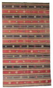 Kelim Semiantiikki Turkki Matto 185X330 Itämainen Käsinkudottu Tummanharmaa/Ruoste (Villa, Turkki)