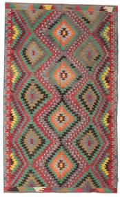 Kilim Semi Antique Turkish Rug 6′2″x10′3″ Authentic  Oriental Handwoven Dark Grey/Dark Red (Wool, Turkey)