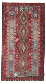 Kilim Semi Antique Turkish Rug 155X279 Authentic  Oriental Handwoven Crimson Red/Dark Brown (Wool, Turkey)