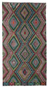 Kelim Semiantik Turkisk Matta 174X324 Äkta Orientalisk Handvävd Mörkgrå/Mörkröd (Ull, Turkiet)