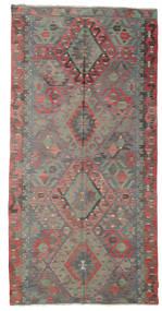 Kelim Halvt Antikke Tyrkiske Teppe 170X334 Ekte Orientalsk Håndvevd Brun/Mørk Grå (Ull, Tyrkia)