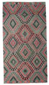 Kelim Halvt Antikke Tyrkiske Teppe 157X292 Ekte Orientalsk Håndvevd Brun/Mørk Grå (Ull, Tyrkia)