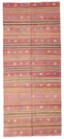 Kelim Semi-Antiek Turkije Vloerkleed 163X380 Echt Oosters Handgeweven Tapijtloper Lichtbruin/Donkerbeige/Lichtroze (Wol, Turkije)