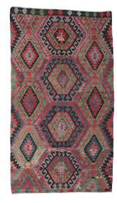 Kilim Semi Antique Turkish Rug 181X327 Authentic  Oriental Handwoven Crimson Red/Black (Wool, Turkey)