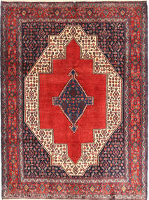 Senneh Rug 127X170 Authentic  Oriental Handknotted Dark Purple/Rust Red (Wool, Persia/Iran)