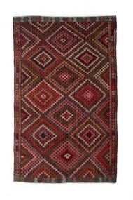 Kelim Semiantiikki Turkki Matto 210X340 Itämainen Käsinkudottu Tummanpunainen (Villa, Turkki)