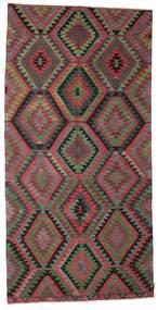Chilim Semi-Antic Turcia Covor 180X363 Orientale Lucrate De Mână Gri Închis/Roșu-Închis (Lână, Turcia)