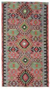 Kelim Semiantik Turkisk Matta 164X298 Äkta Orientalisk Handvävd Mörkbrun/Mörkgrå (Ull, Turkiet)