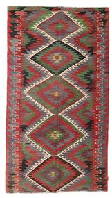Kelim Halvt Antikke Tyrkiske Teppe 164X296 Ekte Orientalsk Håndvevd Mørk Rød/Mørk Grå (Ull, Tyrkia)