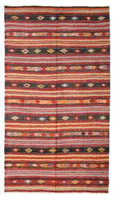 Kelim Semiantik Turkisk Matta 180X322 Äkta Orientalisk Handvävd Mörkröd/Roströd (Ull, Turkiet)