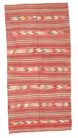 Kelim Halbantik Türkei Teppich  134X274 Echter Orientalischer Handgewebter Dunkelrot/Rost/Rot/Hellrosa (Wolle, Türkei)