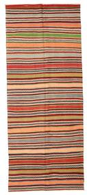 Kilim Semi Antique Turkish Rug 146X360 Authentic  Oriental Handwoven Hallway Runner  Light Brown/Dark Brown (Wool, Turkey)