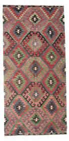 Kelim Halvt Antikke Tyrkiske Teppe 151X315 Ekte Orientalsk Håndvevd Mørk Grå/Lysbrun (Ull, Tyrkia)