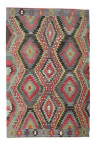 Kelim Halbantik Türkei Teppich  200X304 Echter Orientalischer Handgewebter Dunkelgrau/Hellgrau (Wolle, Türkei)