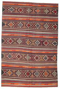 Kelim Semiantik Turkisk Matta 185X280 Äkta Orientalisk Handvävd Brun/Ljusgrå/Mörkröd (Ull, Turkiet)