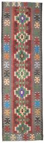 Kelim Semi-Antiek Turkije Vloerkleed 123X413 Echt Oosters Handgeweven Tapijtloper Donkergrijs/Donkerrood (Wol, Turkije)