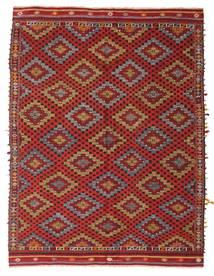 Kelim Semiantik Turkisk Matta 195X254 Äkta Orientalisk Handvävd Mörkröd/Ljusbrun (Ull, Turkiet)