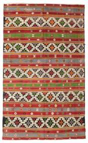 Kilim Semi Antique Turkish Rug 6′3″x10′4″ Authentic  Oriental Handwoven Dark Red/Brown (Wool, Turkey)