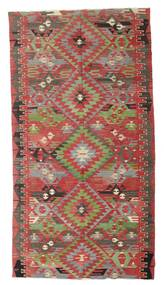 Chilim Semi-Antic Turcia Covor 170X316 Orientale Lucrate De Mână Roșu-Închis/Verde Oliv (Lână, Turcia)