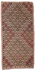 Kelim Semi-Antiek Turkije Vloerkleed 132X277 Echt Oosters Handgeweven Donkerrood/Donkerbruin/Bruin (Wol, Turkije)
