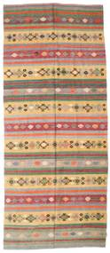 Kelim Semiantik Turkisk Matta 163X387 Äkta Orientalisk Handvävd Hallmatta Ljusbrun/Olivgrön (Ull, Turkiet)