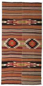 Kilim Semi Antique Turkish Rug 133X271 Authentic  Oriental Handwoven Dark Brown/Light Brown (Wool, Turkey)