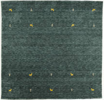 Gabbeh Loom Two Lines - Dark Grey/Green Rug 200X200 Modern Square Dark Green/Dark Turquoise   (Wool, India)