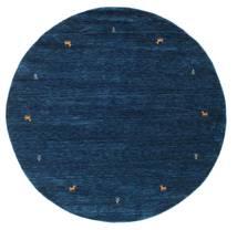 Gabbeh Loom Two Lines - Azul Oscuro Alfombra Ø 200 Moderna Redonda Azul Oscuro (Lana, India)