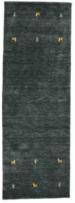 Gabbeh Loom Two Lines - Dark Grey/Green Rug 80X250 Modern Hallway Runner  Black/Dark Grey (Wool, India)