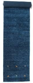 Gabbeh Loom Two Lines - Tmavě Modrý Koberec 80X400 Moderní Běhoun Tmavě Modrý (Vlna, Indie)