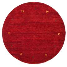 Gabbeh Loom Two Lines - Red Rug Ø 150 Modern Round Crimson Red/Dark Red (Wool, India)