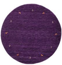 ギャッベ ルーム Two Lines - 紫 絨毯 Ø 150 モダン ラウンド 濃い紫 (ウール, インド)