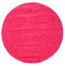 ギャッベ ルーム Two Lines - Cerise 絨毯 Ø 150 モダン ラウンド ピンク (ウール, インド)