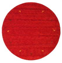 Gabbeh Loom Two Lines - Rust Red Rug Ø 150 Modern Round Crimson Red (Wool, India)