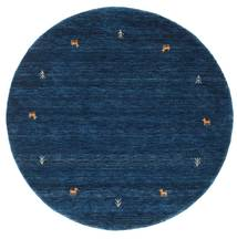 Gabbeh Loom Two Lines - Dark Blue Rug Ø 150 Modern Round Dark Blue (Wool, India)