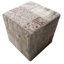 Patchwork Stool Ottoman Rug 50X50 Authentic Oriental Handknotted Square Light Grey/Dark Grey (Wool, Turkey)