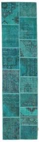 Patchwork Rug 79X300 Authentic  Modern Handknotted Hallway Runner  Dark Turquoise  /Turquoise Blue (Wool, Turkey)