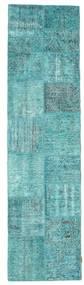 Patchwork Covor 80X302 Modern Lucrat Manual Albastru Turcoaz/Albastru Turcoaz (Lână, Turcia)
