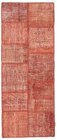 Patchwork Rug 79X203 Authentic  Modern Handknotted Hallway Runner  Dark Red/Light Brown (Wool, Turkey)