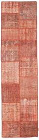 Patchwork Rug 78X302 Authentic  Modern Handknotted Hallway Runner  Light Pink/Dark Red (Wool, Turkey)