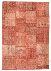 Patchwork Matto 139X201 Moderni Käsinsolmittu Vaaleanpunainen/Vaaleanruskea (Villa, Turkki)