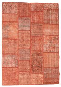 Patchwork Matto 139X201 Moderni Käsinsolmittu Vaaleanpunainen/Oranssi (Villa, Turkki)